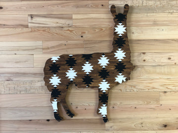 Wood Art Hand Crafted Llama - Brown/White