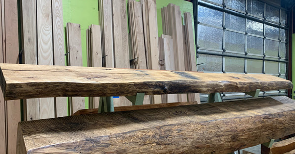 Live Edge White Oak Mantel LEM099