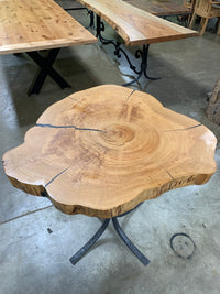 Cypress Live Edge Round Slab LES123-The Phillips Forest Store-live edge dining table