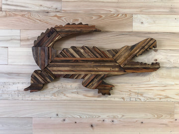 Wood Art by Lia Parker- Hand Crafted Alligator Brown