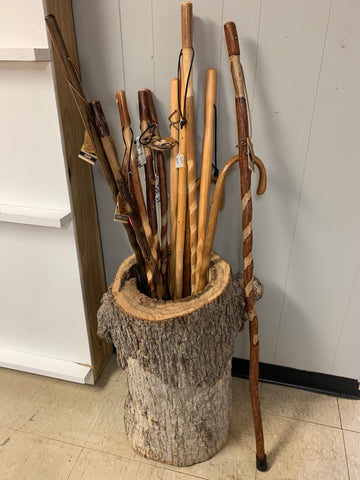 Wood sculpture. Walking sticks