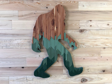 Wood Art by Lia Parker - Brown/Green Sasquatch Yeti