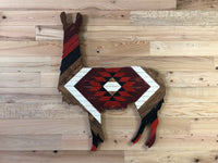 Wood Art Hand Crafted Llama - Red
