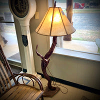 Rustic river wood floor lamp