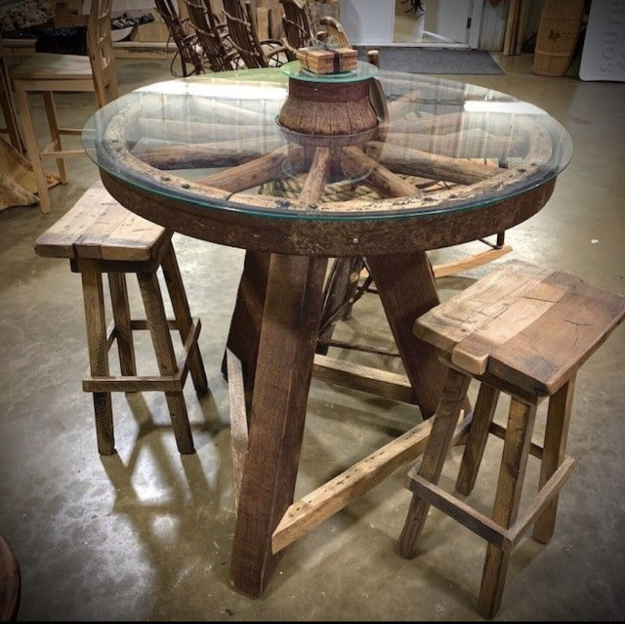 Rustic Wagon Wheel Table The Phillips Forest Store