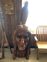 Hand Carved Wooden Indian Head
