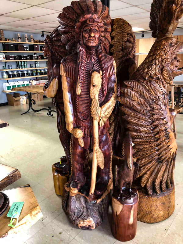 Cedar Wood Indian Holding a Stick