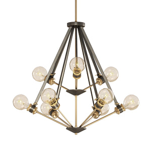 Dark Bronze & Satin Brass 2-Tier Chandelier