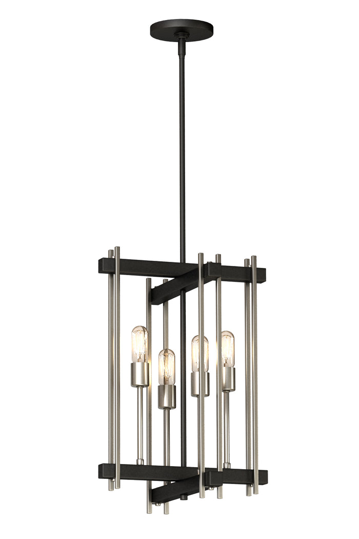 4 Light Pendant in Black and Nickel