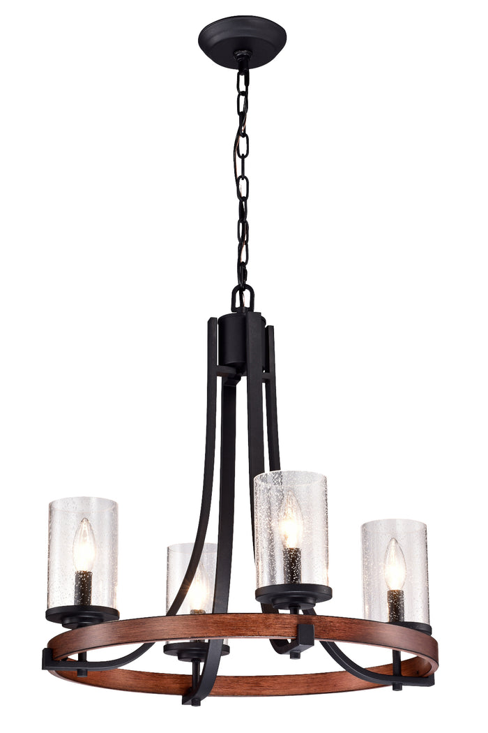 4-Light Chandelier Black and Wood Finish