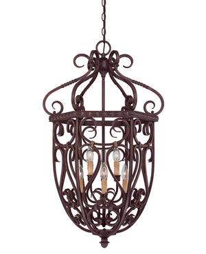 274637 - Six Light Foyer Lantern - Bark & Gold