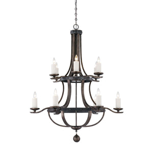 946636 - 12 Light Chandelier - Reclaimed Wood