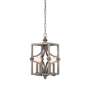 937656 - Four Light Foyer Pendant - Aged Steel