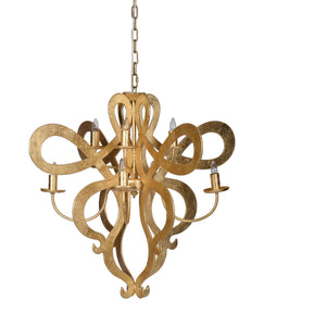 Eight Light Gold Leaf Chandelier