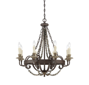 111030 - Eight Light Chandelier - Fossil Stone