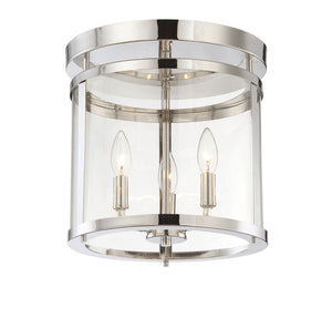 111073 - Three Light Semi-Flush Mount - Polished Nickel