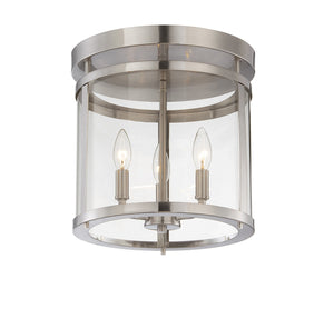 111071 - Three Light Semi-Flush Mount - Satin Nickel