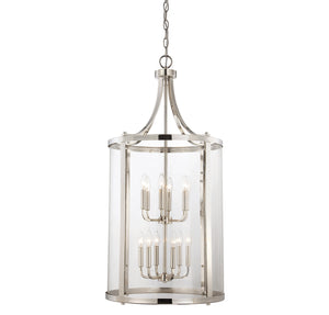 111057 - 12 Light Foyer Lantern - Polished Nickel
