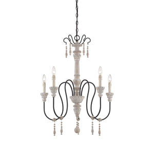 162504 - Five Light Chandelier - White Washed Driftwood