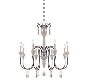 162502 - Eight Light Chandelier - White Washed Driftwood