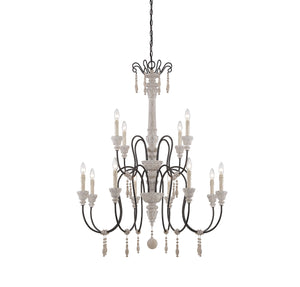 162503 - 12 Light Chandelier - White Washed Driftwood