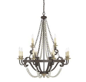 162545 - 12 Light Chandelier - Fossil Stone