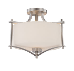 162595 - Two Light Semi-Flush Mount - Satin Nickel