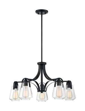 Skybridge 5 Light Matte Black Chandelier