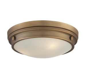834835 - Three Light Flush Mount - Warm Brass