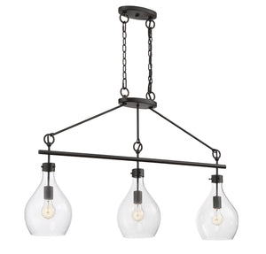811016 - Three Light Linear Chandelier - Oiled Bronze