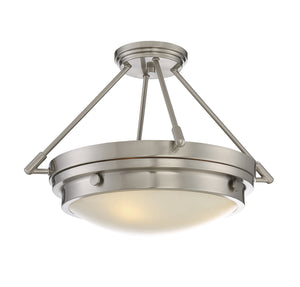 811429 - Three Light Semi-Flush Mount - Satin Nickel