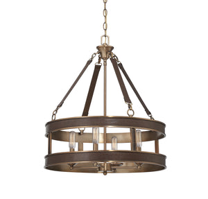811493 - Four Light Pendant - Brown Leather