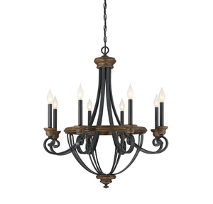 603311 - Eight Light Chandelier - Whiskey Wood
