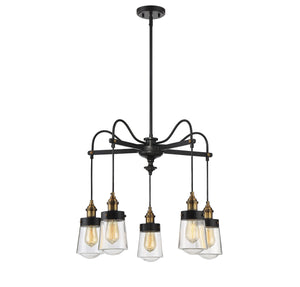 603316 - Five Light Chandelier - Vintage Black w/ Warm Brass