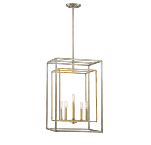 603903 - Five Light Foyer Lantern - Argentum and Gold