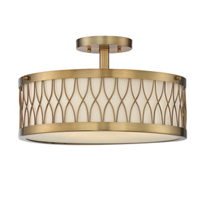603999 - Three Light Semi-Flush Mount - Warm Brass