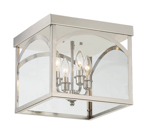 603911 - Four Light Flush Mount - Polished Nickel