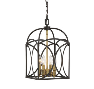 612201 - Four Light Foyer Pendant - English Bronze & Warm Brass