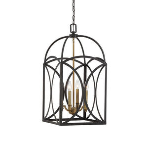 612208 - Four Light Foyer Pendant - English Bronze & Warm Brass
