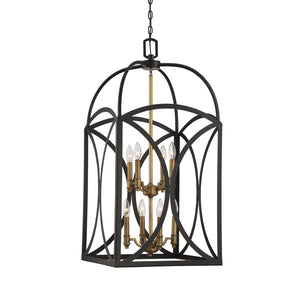 612206 - Eight Light Foyer Pendant - English Bronze & Warm Brass