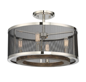 612292 - Four Light Semi Flush Mount - Polished Nickel w/ Wood accents