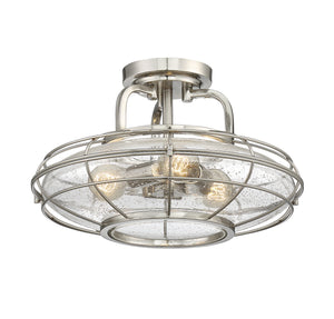 612299 - Three Light Semi-Flush Mount - Satin Nickel