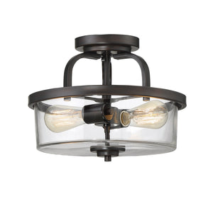 612298 - Two Light Semi-Flush Mount - English Bronze
