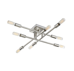 612297 - Eight Light Semi Flush Mount - Polished Nickel