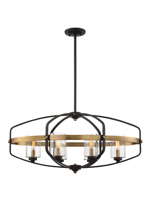 673531 - Six Light Linear Chandelier - English Bronze & Warm Brass