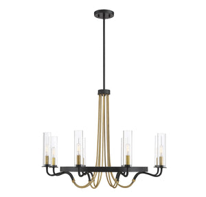 673538 - Eight Light Chandelier - Vintage Black w/ Warm Brass