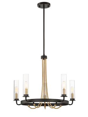 673536 - Five Light Chandelier - Vintage Black w/ Warm Brass