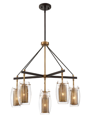 673597 - Six Light Chandelier - Warm Brass w/ Bronze accents