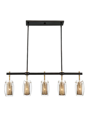 673595 - Five Light Linear Chandelier - Warm Brass w/ Bronze accents