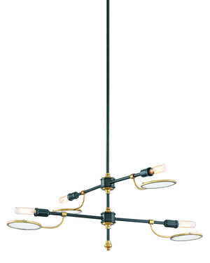673587 - Four Light Chandelier - Vintage Black w/ Warm Brass